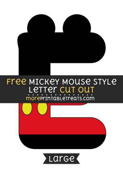 Free Mickey Mouse Style Letter E Cut Out