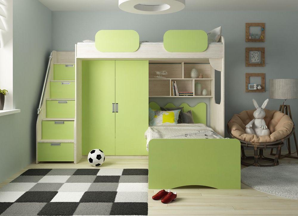 es verf gt ber ein bett einen integrierten zweit rigen schrank und eine kommode in form einer. Black Bedroom Furniture Sets. Home Design Ideas