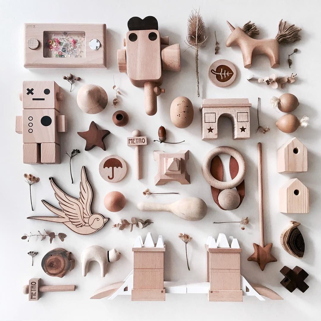 collection, flat lay, wood toys, play, natural wood, kids