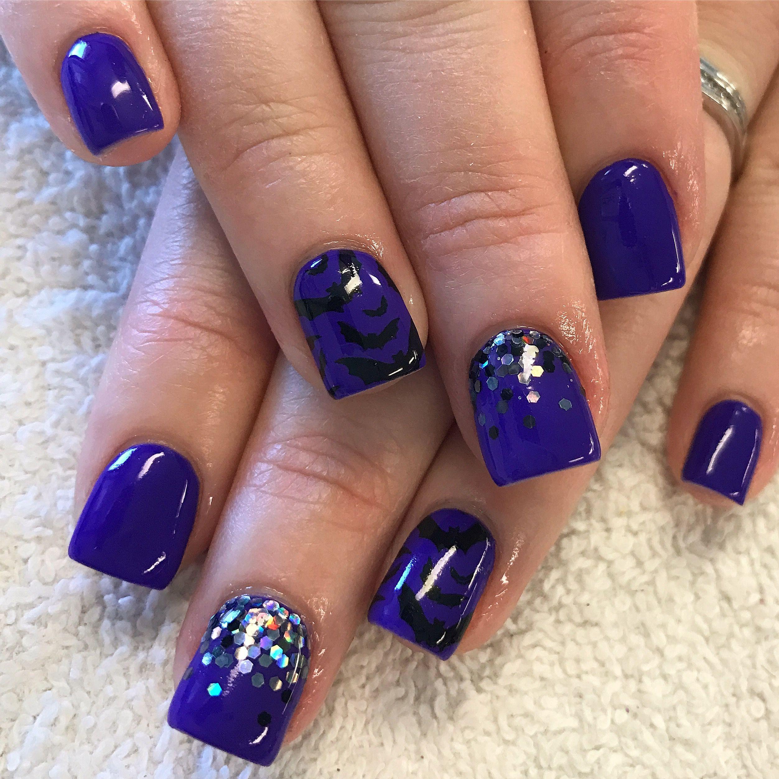 October. Halloween. Purple. Bat stamp. Glitter. Nails ...