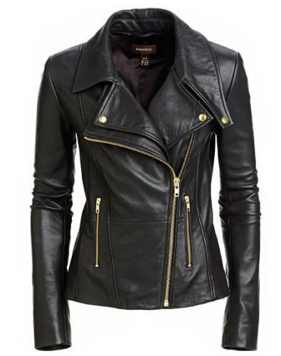 Deluxe Ladies Black Biker Style Fitted Motorcycle Real Lambskin Leather Jacket