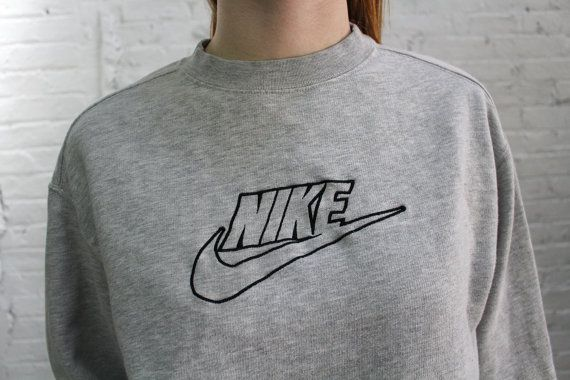 nouveau style dd4ae c5026 vintage Nike sweatshirt / 90s Nike logo heather grey ...