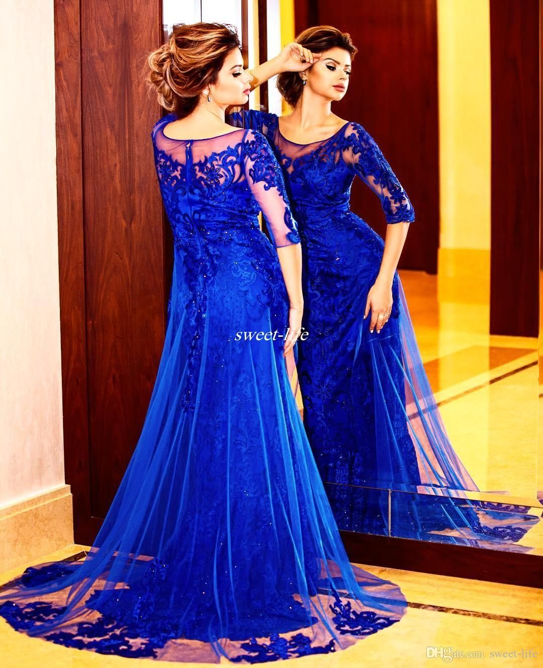 Elegant Royal Blue Mother Of The Bride Dresses With Sleeve Full Lace Train Tulle Applique 2017 Custom Made Wedding Guest Dress Evening Gowns Von Maur Mother Of Mother Of The [ 1327 x 1080 Pixel ]