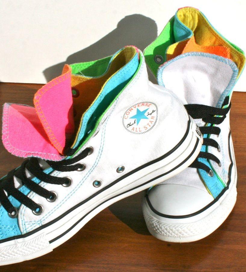 bcc43d2708b4 hidden layers  neon rainbow Converse shoes