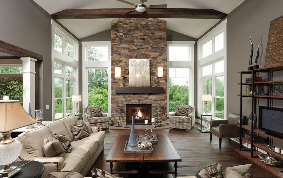 Dutch Quality Contemporary Living Room Design Stone Fireplace
