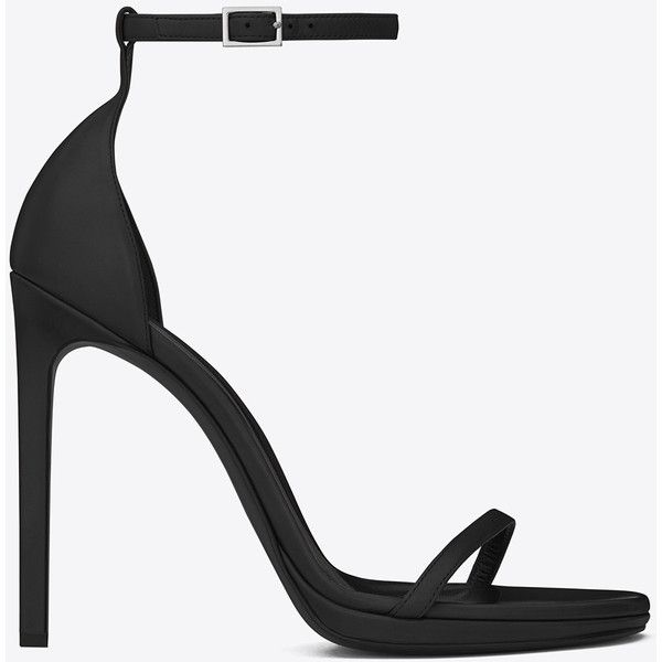 Saint Laurent Classic Jane Ankle Strap 105 Sandal (€625) ❤ liked on Polyvore featuring shoes, sandals, heels, ankle strap platform sandals, ankle strap sandals, square heel shoes, high heel shoes and heeled sandals