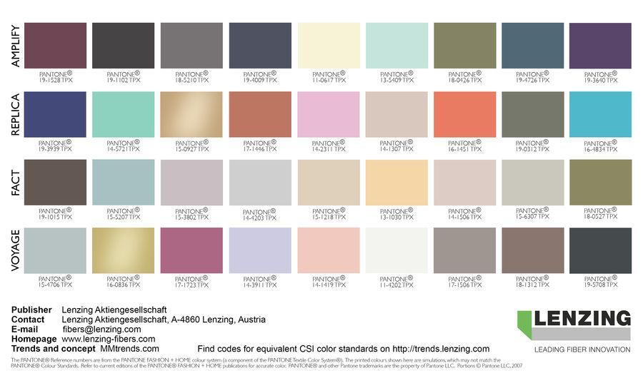Trends Autumn Winter 2018 2019 Botanic Fibers Farbtrends Farben Farbkarten