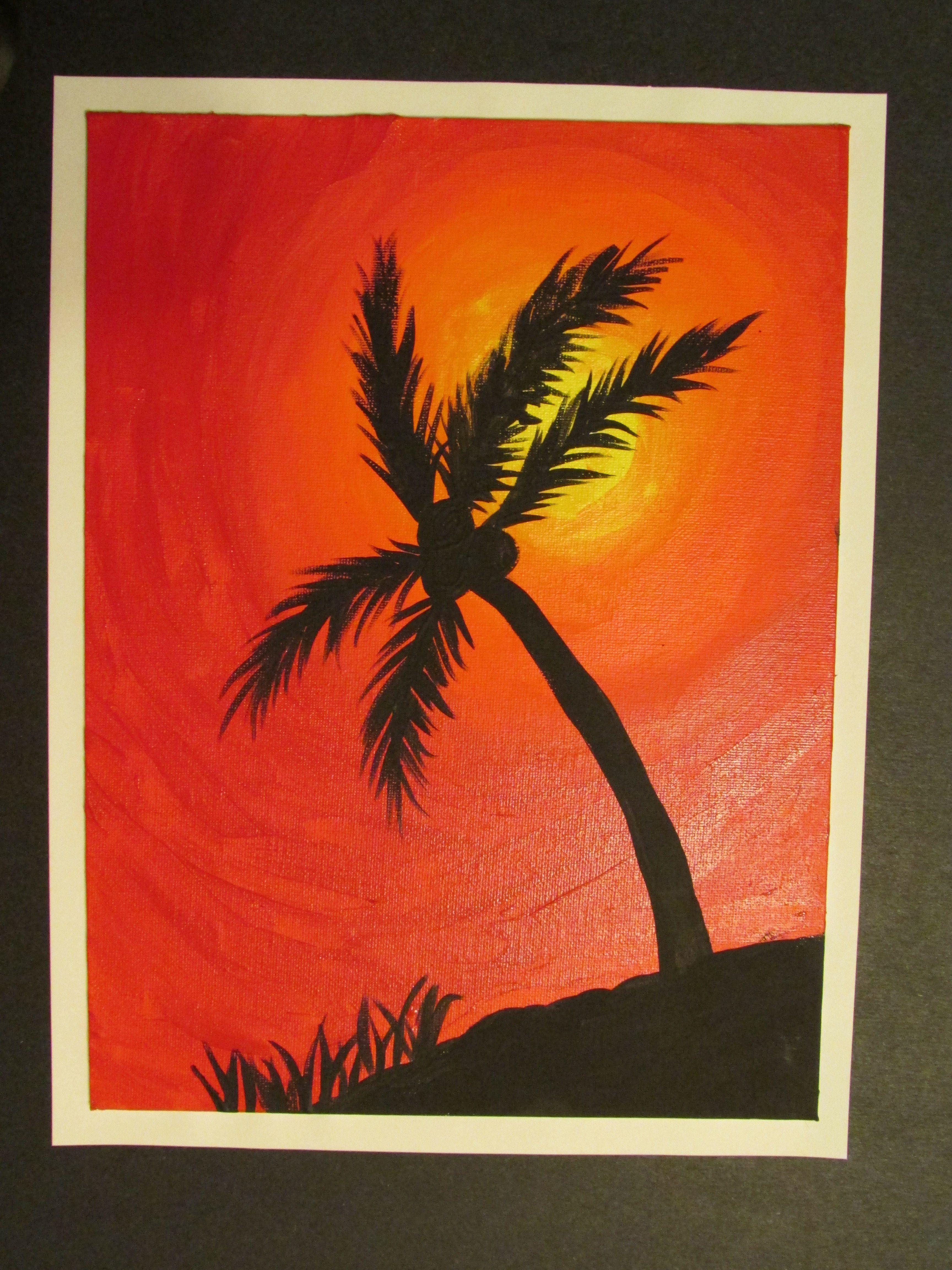 5th Grade Palm Tree Silhouette Painting On Canvas Board 9 X 12 Lesson By Art Teacher Susan Joe Art Camp Projects Homeschool Art Homeschool Art Lesson