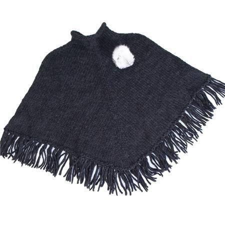 Poncho gris charbon en laine avec pompom en fourrure naturelle (lapin) 78f757834bf