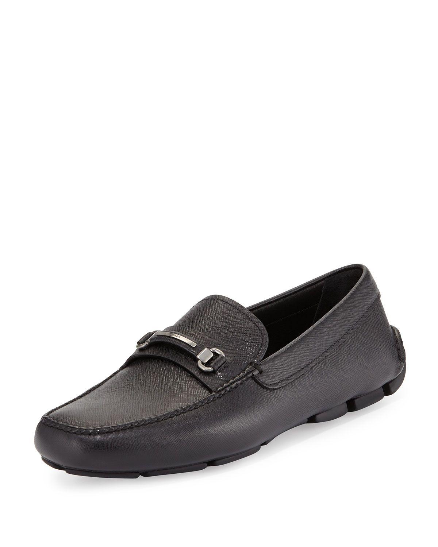 3360c81a86e2d7 Prada Saffiano Leather Driver, Black, Men's, Size: 6.5/7.5D ...