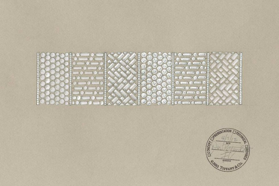 A sketch of a wide diamond bracelet.