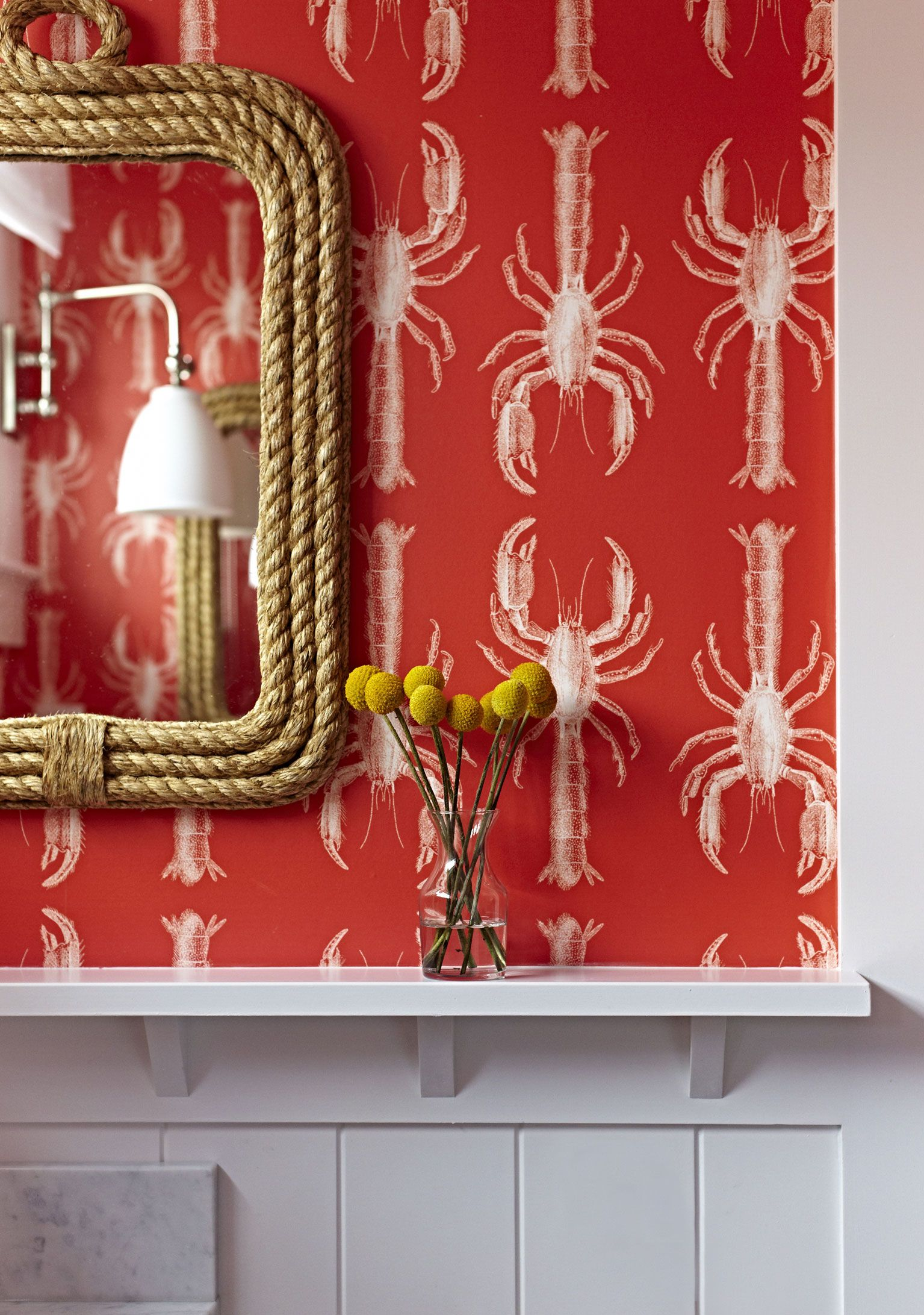 Lobster Wallpaper For Those Who Love To Make A Statement L Coastal Bedrooms Baths L Www Dreambuildersobx Com Beach Cottage Style Beach Cottages Coastal Color Palettes