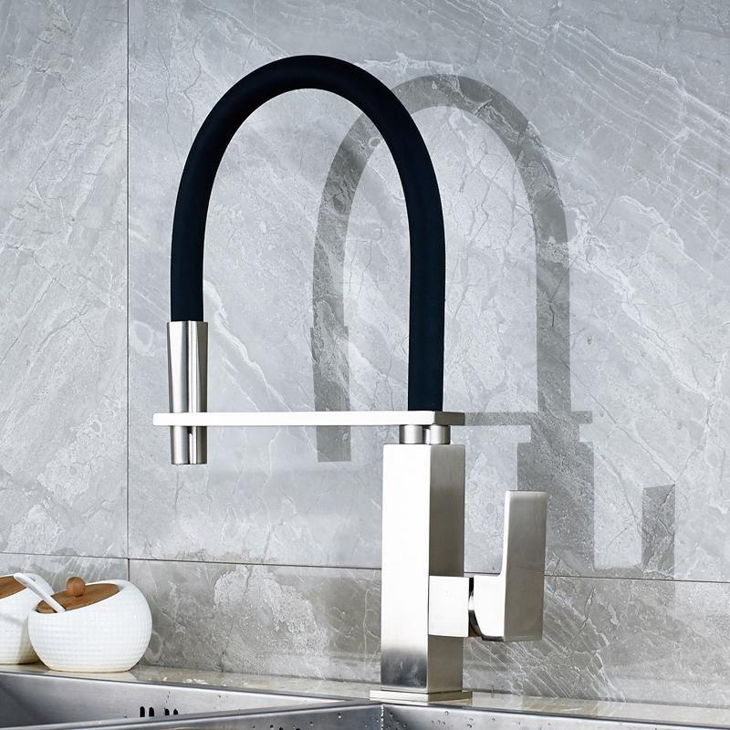 Modern Kitchen Faucet With Black Flex Neck Modern Kitchen Faucet Brushed Nickel Kitchen Faucet Modern Kitchen Shelves