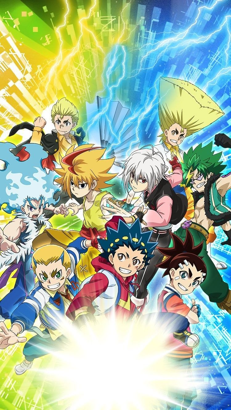 The Poster With The 9 Characters From The 4 Seasons Of Beyblade Burst Who Will Appear In Season 5 Sparking Is Now Complete Anime Wallpaper Anime Beyblade Burst