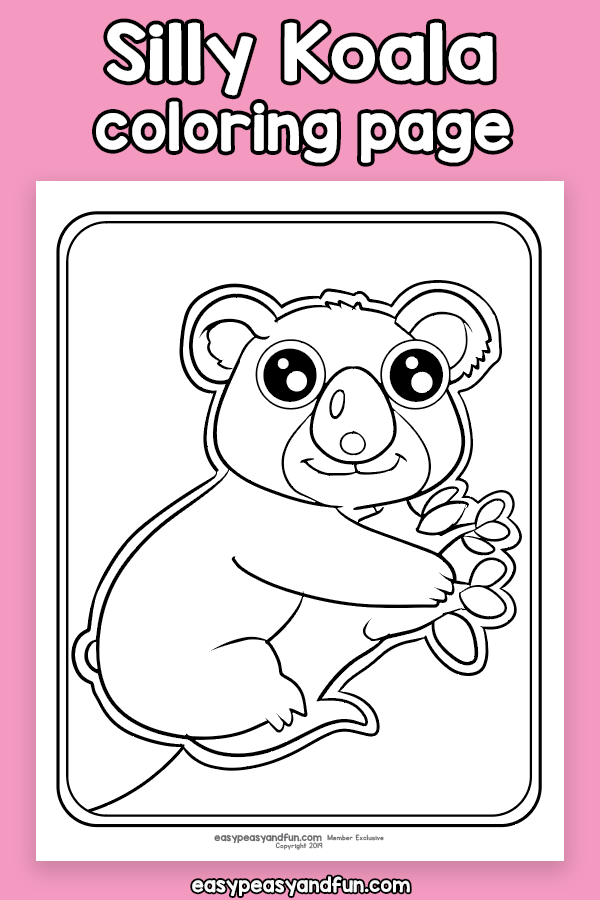 Silly Koala Coloring Page Kids Journal Coloring Pages Koala