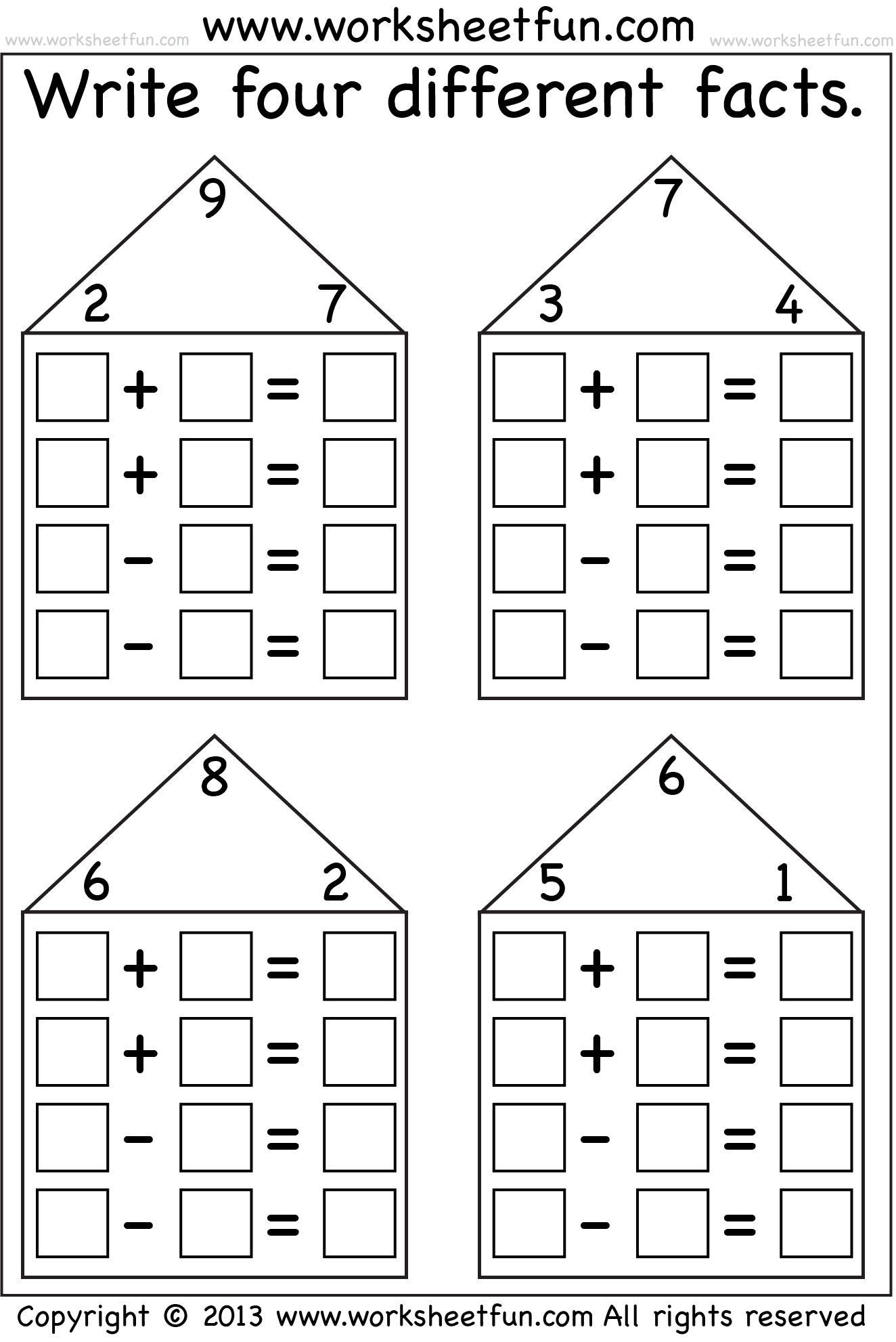 - Fact Family Houses - Many Different Levels Fact Family Worksheet