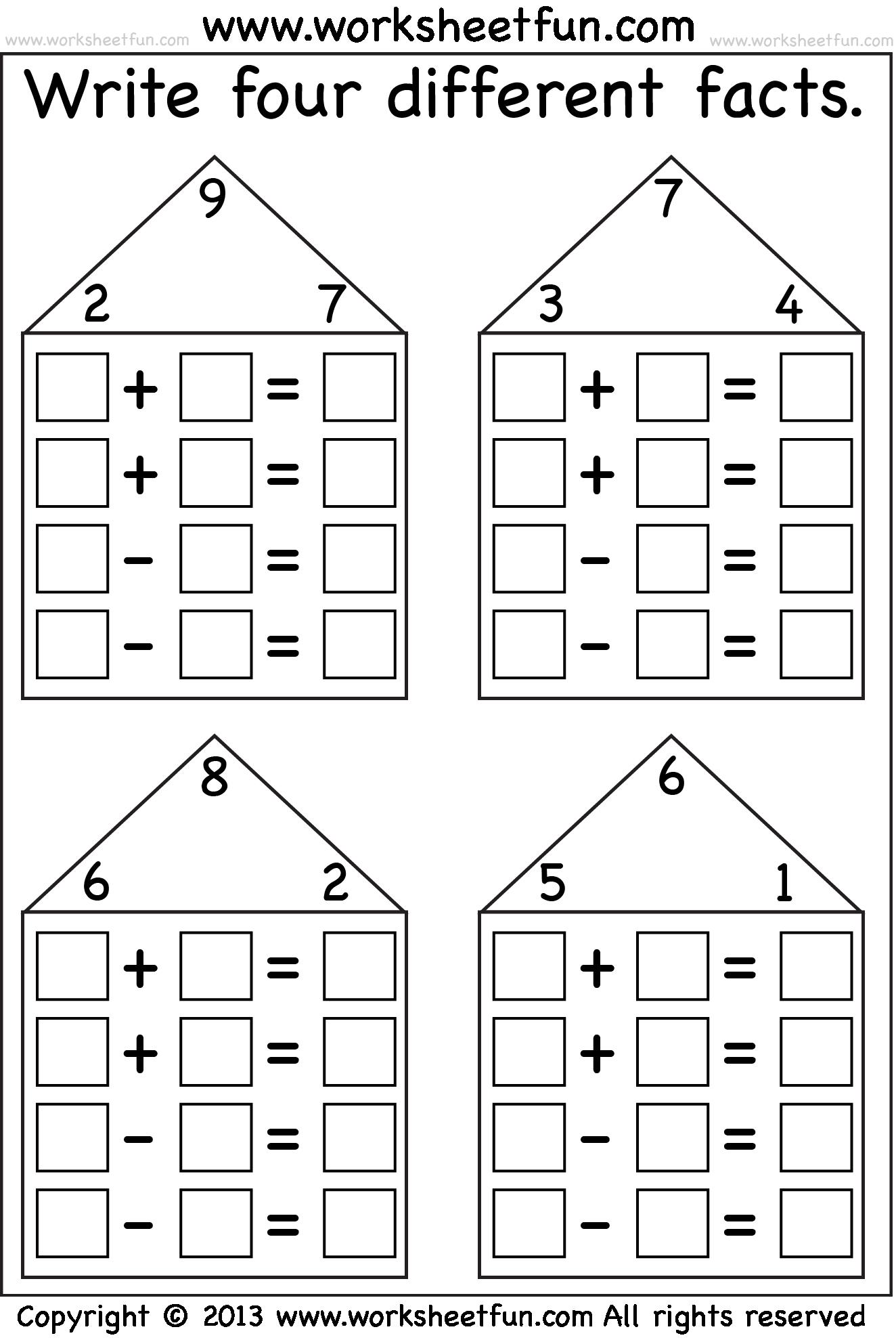 fact family houses   Fact family worksheet [ 1982 x 1324 Pixel ]