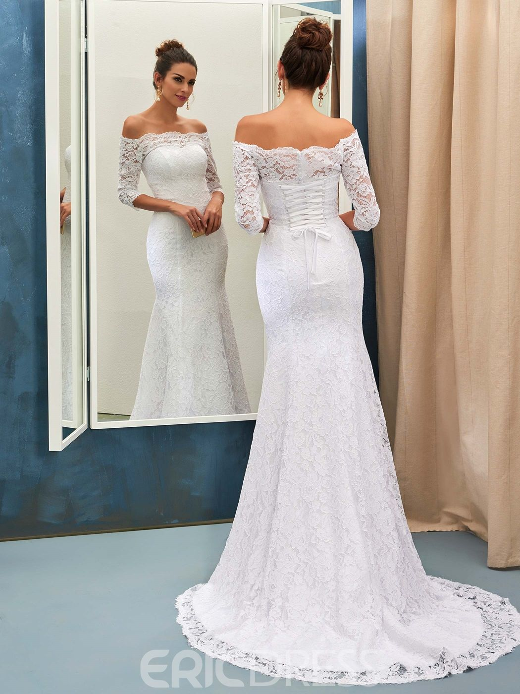 Lace mermaid off the shoulder wedding dress with sleeves wedding