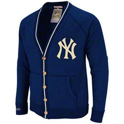 20272325921 New York Yankees Navy Mitchell  amp  Ness Shortstop Vintage Garment Washed  Cardigan Sweater  99.99 http