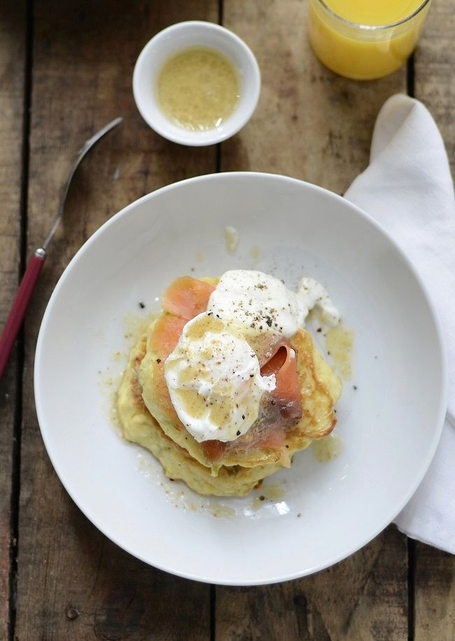 Leek Blinis with Smoked Salmon and Poached Egg