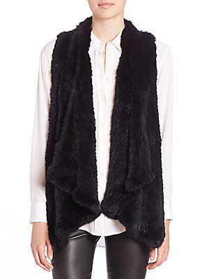 H Brand Audra Rabbit Fur Vest now available at Saks Fifth Avenue  #Hbrandfur