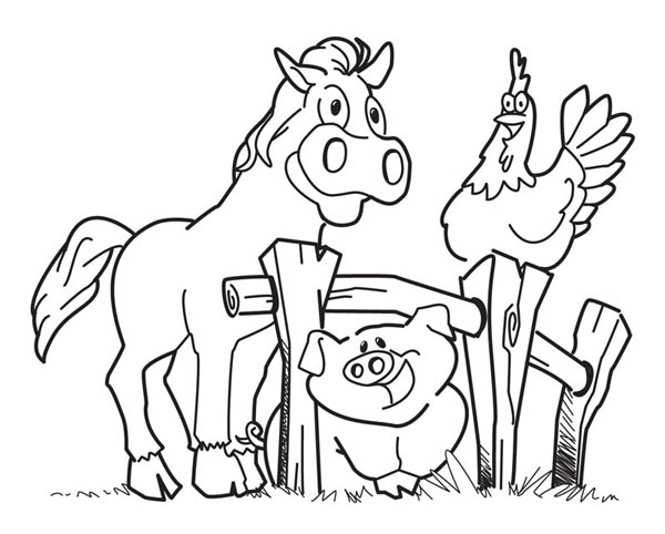 Happy Animal Farm Coloring Page Coloring Sky Farm Animal Coloring Pages Farm Coloring Pages Horse Coloring Pages
