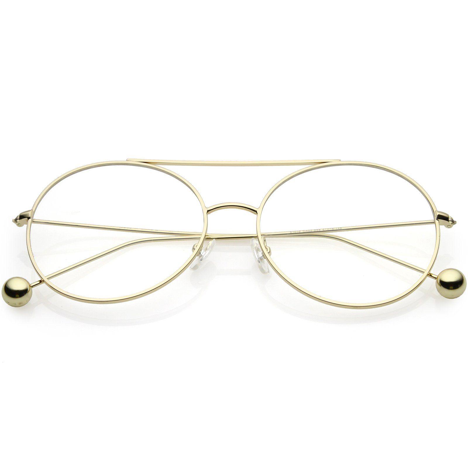 c9f961efcd8 Premium Oversize Round Eyeglasses Metal Double Nose Bridge Clear Flat Lens  59mm  frame  clear  mirrored  sunglassla  womens  sunglasses  bold  purple  ...