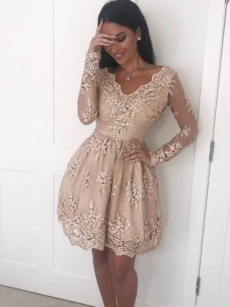 A line v neck long sleeves champagne lace short prom dresses