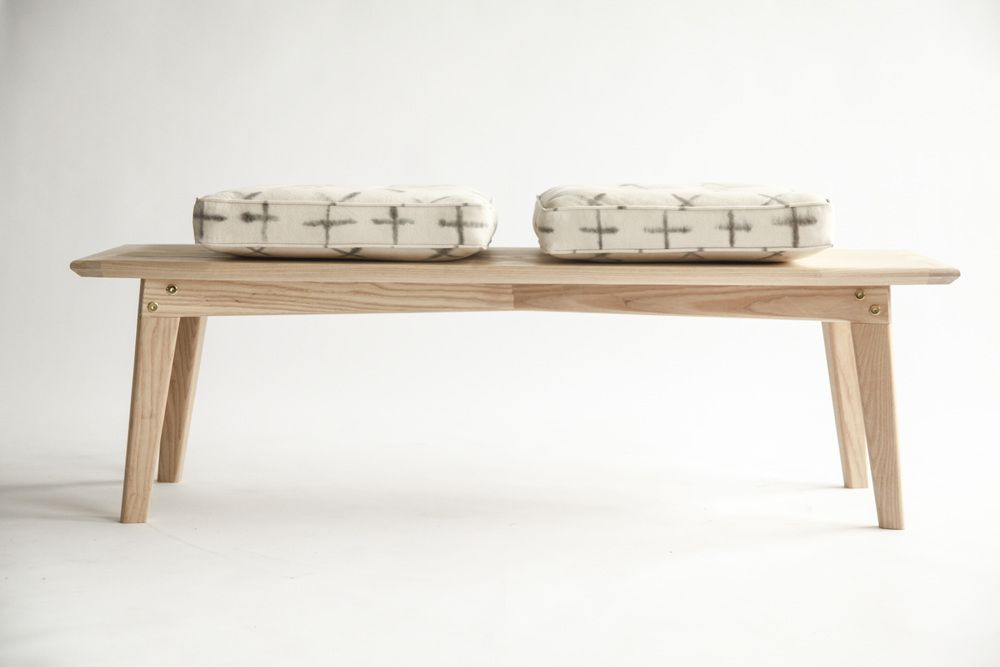 $800 Bench $945 Bench with Cushions  The purity of this white ash bench is complimented by 100% cotton cushions. They are completed with delicately hand dyed crosses and functional leather straps.