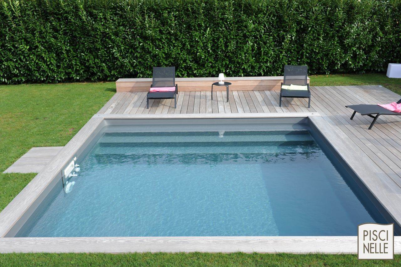 piscinelle avec liner gris ardoise et escabanc sur mesure piscine pinterest gris ardoise. Black Bedroom Furniture Sets. Home Design Ideas