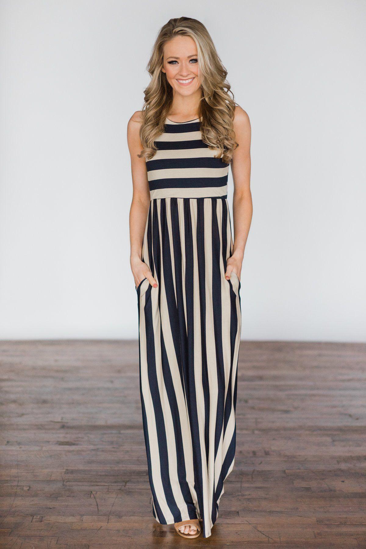 73e37891539 Beach Daze Striped Maxi Dress ~ Taupe   Navy – The Pulse Boutique