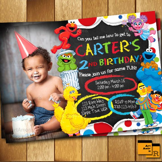 Elmo Invitation Birthday Sesame Street 1st 2nd 3rd Party Inv