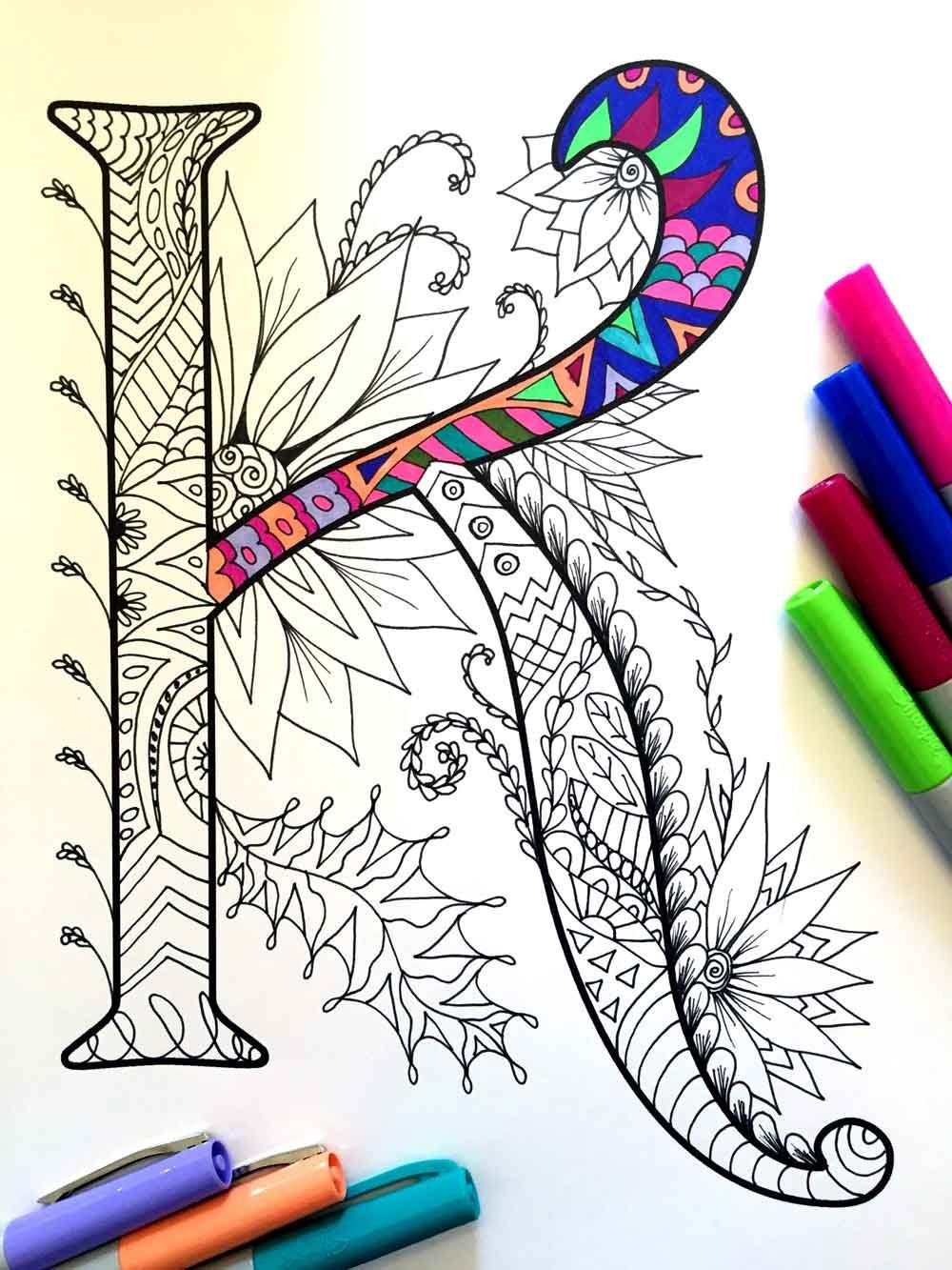 Harrington Font Printable Zentangle Alphabet Number Coloring Pages Zentangle Patterns Coloring Pages Coloring Books