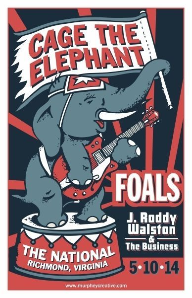 Cage The Elephant + Foals gig poster by Chris Murphey Two of my favourite bands together. Add The National as a band (not as a venue) and you have my three. A dream of concert.
