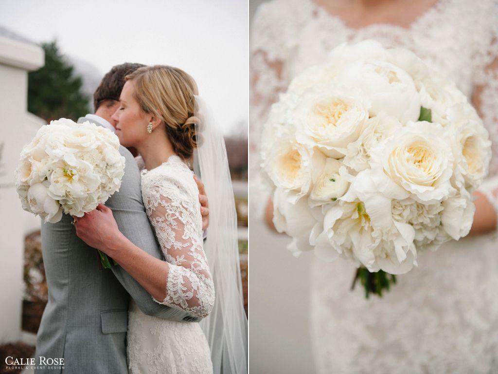 Superbe Classic Elegant Lush White Cream Wedding Bouquet, Class White Cream Garden  Rose Peony Hydrangea Wedding