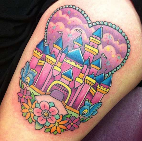 Kawaii Disney Castle Tattoo by Sarah K