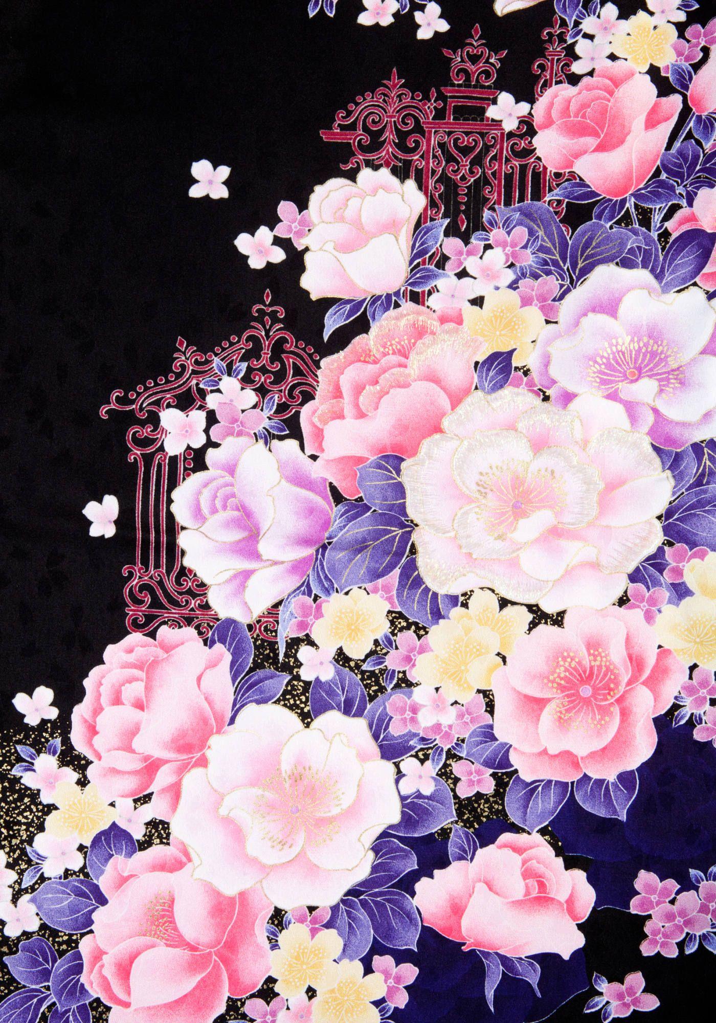 着物 No 832 商品名 黒 バラ刺しゅう 黒バラ 切り絵 図案 和柄