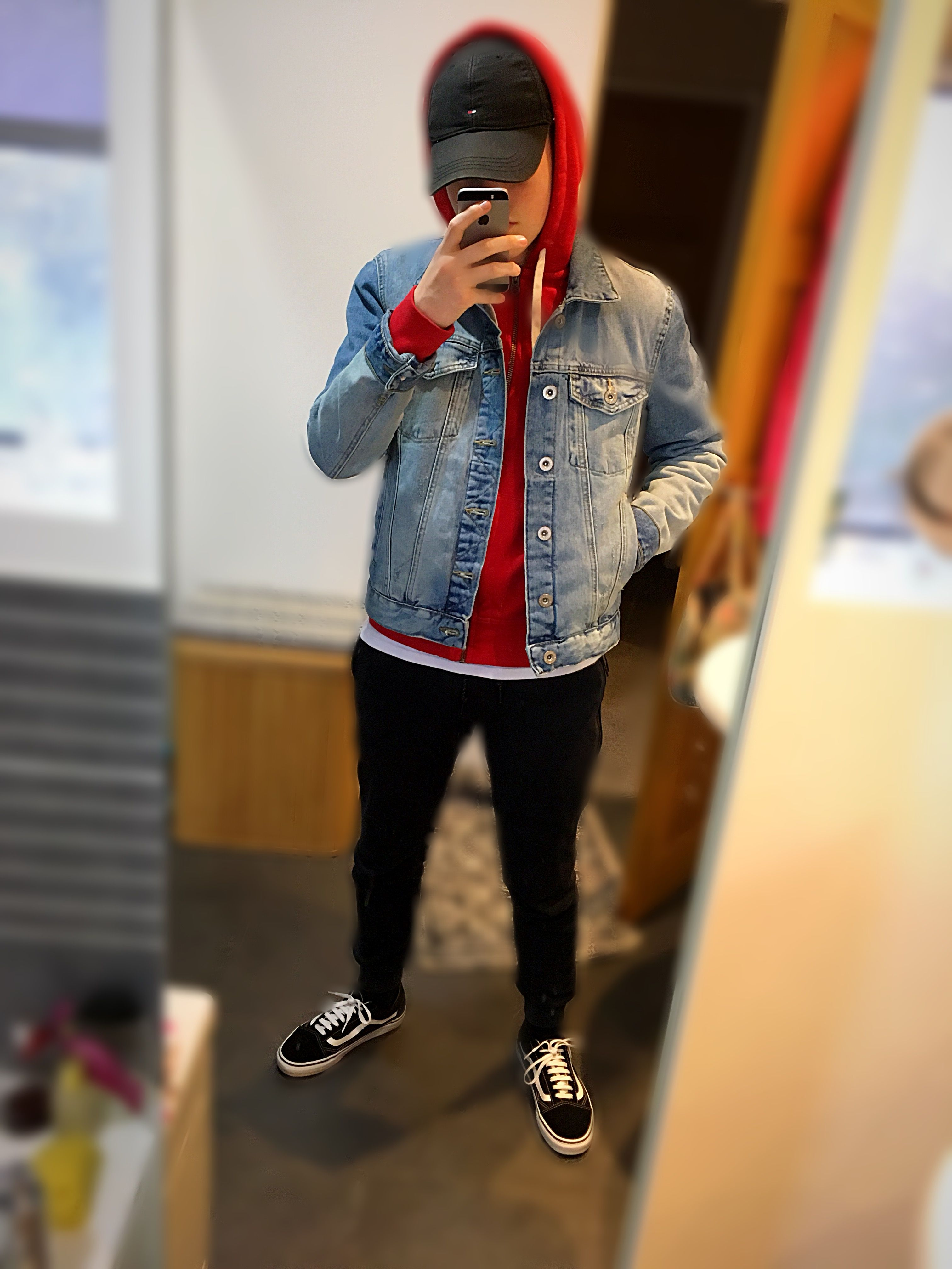 Red Ralph Lauren Hoodie Denim Jacket Black Joggers Old Skool B W Vans White T Shirt Black Hilfiger Cap