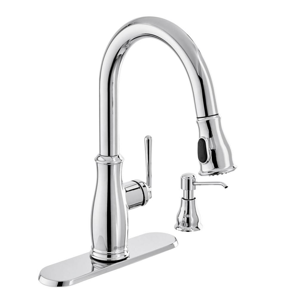 Glacier Bay Kagan Single Handle Pull Down Sprayer Kitchen Faucet With Soap Dispenser In Chrome Grey In 2020 Kitchen Faucet Faucet Soap Dispenser