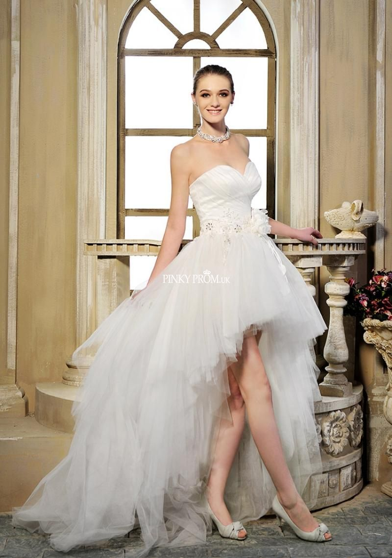 White High Low Tulle Prom Dress With Lace Up pinkyporm.uk £146.78 ...