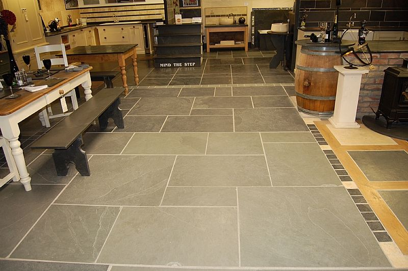 blue slate floors   Showroom Blue/grey And Black Brazillian Riven Slate Flooring