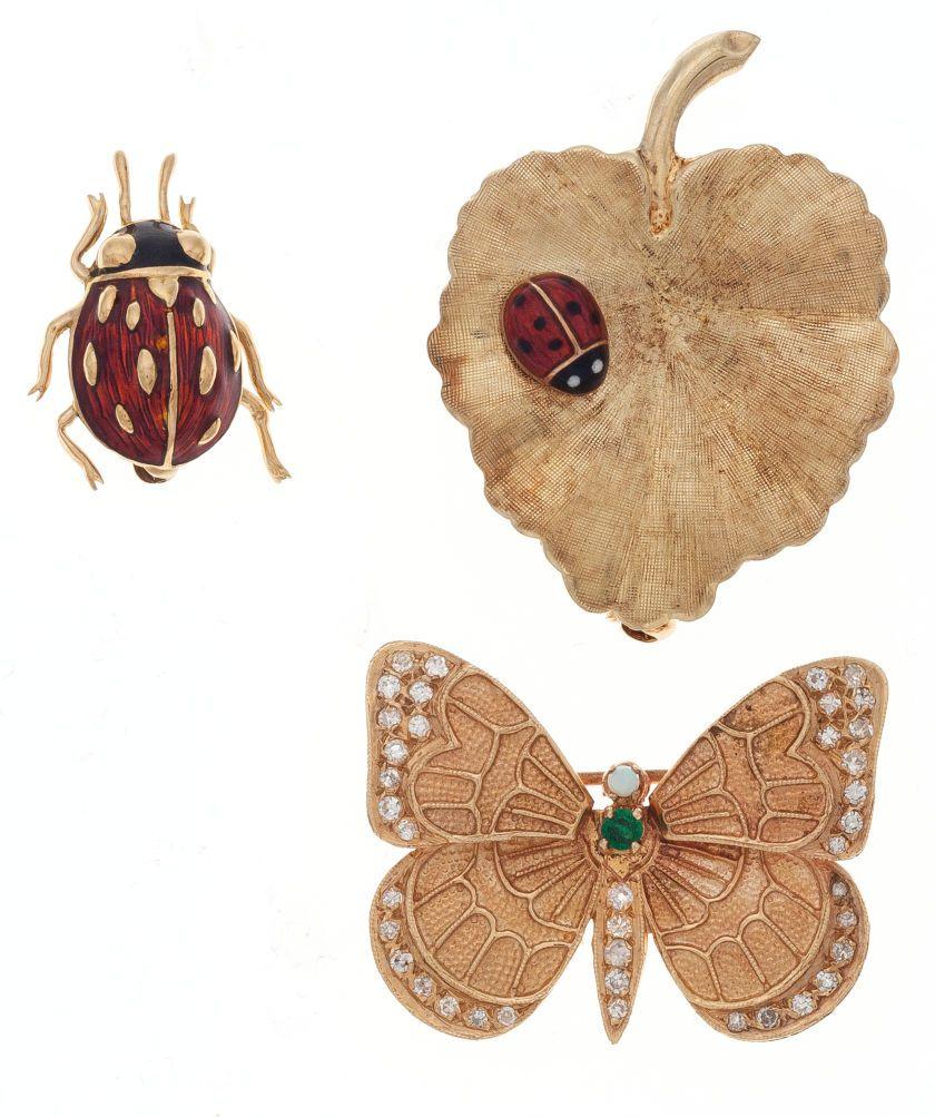 Summertime Garden Gold Brooch, Ladybug, Butterfly and Ladybug on Leaf Ladybug SOLD
