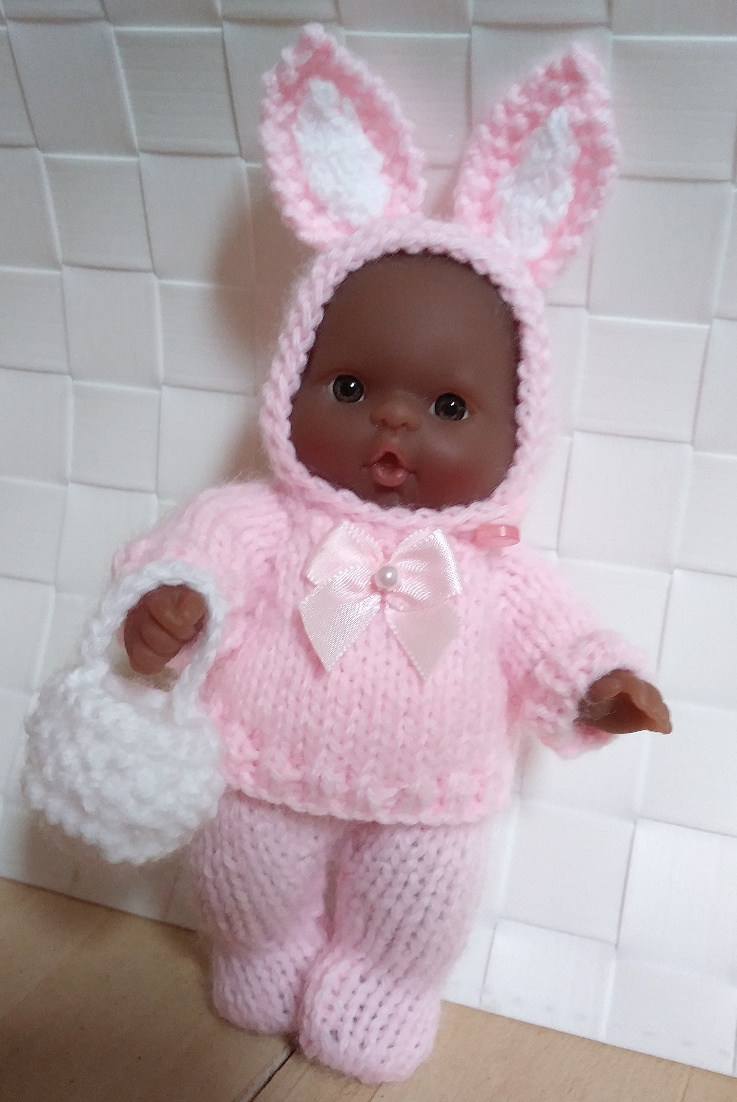 Pink Easter Bunny Set for the 5 inch berenguer itty bitty baby dolls