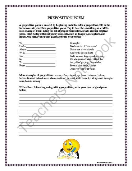 Preposition Poem Worksheet. from HappyEdugator on TeachersNotebook.com -  (1 page)  - Preposition Poem Worksheet. Prepositions and poetry together! Worksheet
