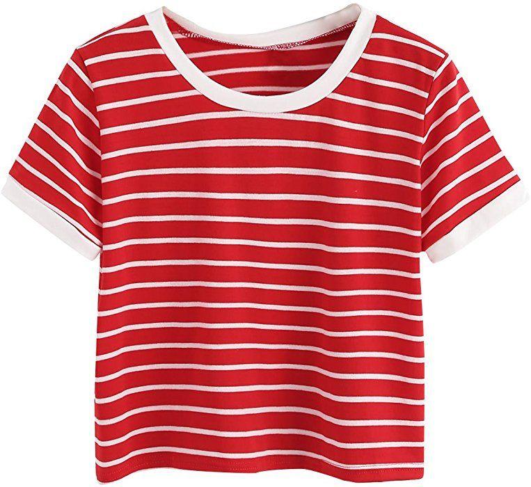 5e1c6e08768 SweatyRocks Women s Short Sleeve Striped Crop T-Shirt Casual Tee Tops  (Small