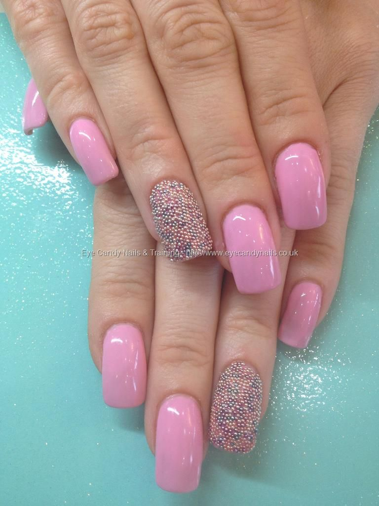 Gel No 37 With Caviar Beads Over Acrylic Nails Nail Art