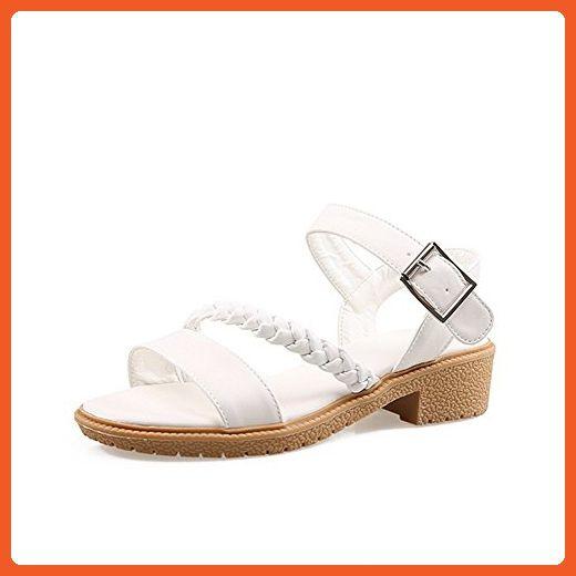 Buckle Pu Low Women's Toe Sandals Amoonyfashion Open Solid Heels zMpUqVS