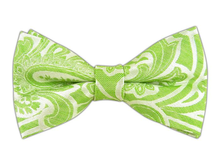 Spring Paisley - Kelly Green (Linen Bow Ties) - Spring Paisley - Apple (Linen Bow Ties)