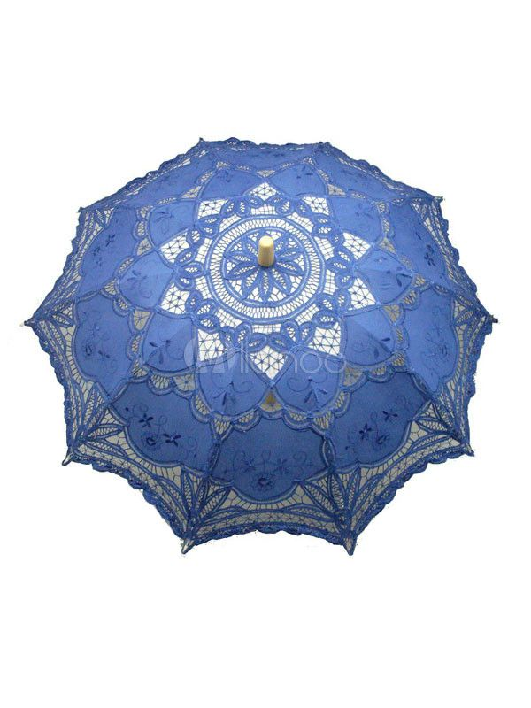 Mysterious Blue Wood Lace Wedding Umbrella | Victorian ...