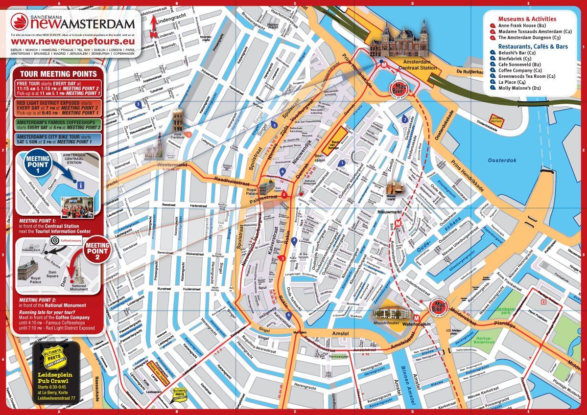 Amsterdam Walking Tour Free Amsterdam Tourist Map Amsterdam Map City Bike